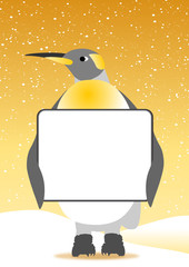 penguin and messageboard on the snowflakes background
