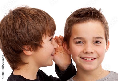 Leinwanddruck Bild Zwei Jungen flüstern sich News und Geheimnisse ins Ohr