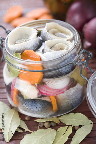 Pickled Herring in glass jar
