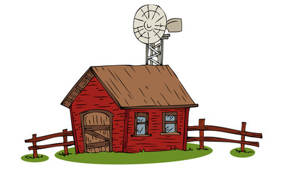 Farmhouse with windmill.