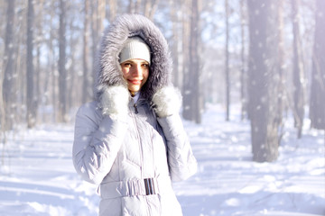 Portrait of girl in hooded jacket