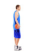 A full length of a basketball player