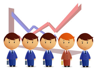 Businessmans with graph on background