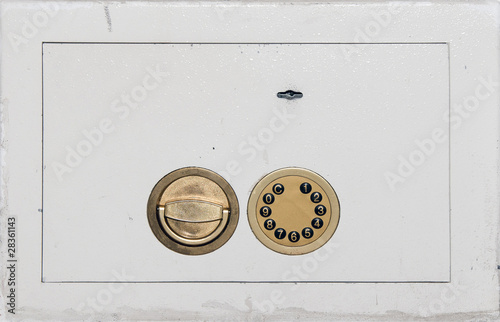 safe door with locks closeup