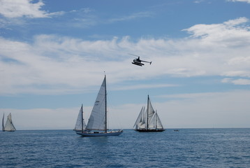 sailing regatta and helicopter