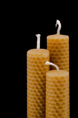 3 beeswax candles