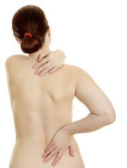 Woman massaging pain back isolated on white background