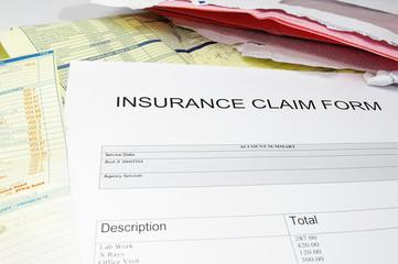 health insurance medical claim form, with medical bills