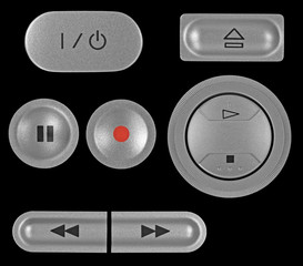 Natural silver grey metallic DVD recorder buttons set, isolated
