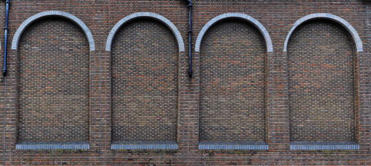 Panoramic view of a brick building