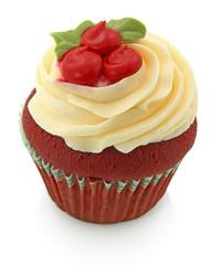 Red Velvet Cupcake Isoloated On White
