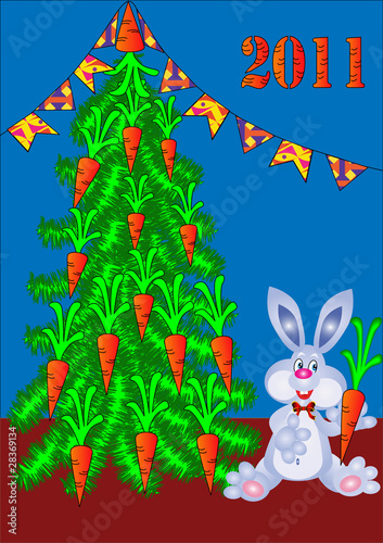 fir tree decorated by carrot and rabbit