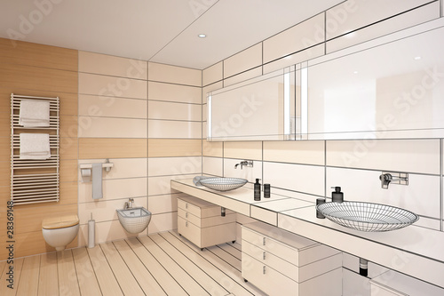 Gentle designed bathroom (3d)