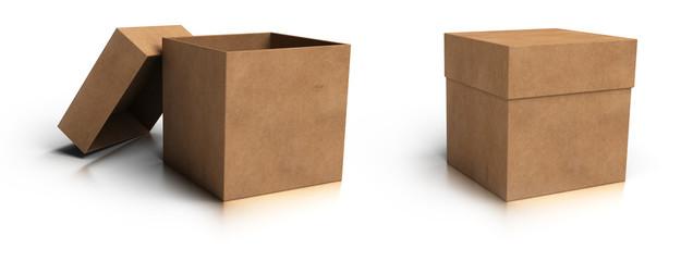 boite ouverte et fermée en carton sur fond blanc