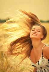Woman with magnificent hair