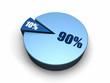 Blue Pie Chart 90 - 10 percent