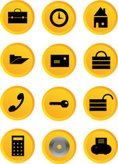 yellow office comunication icon buttons vector illustration