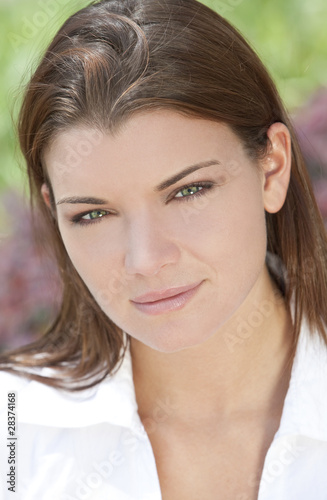 Natural Light Portrait of Beautiful Woman With Green Eyes