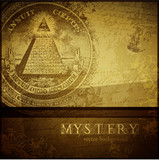 mystery background with all-seeing eye and old handwriting poster