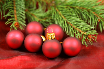 Christmas red baubles and fir