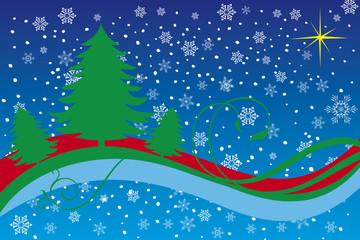 Sfondo di Natale con alberi su cielo con fiocchi di neve