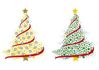 coppia di alberi di Natale formati da tante stelle