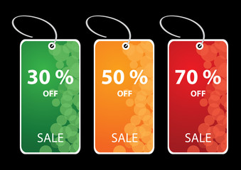 Vector illustrations of discount sale tags