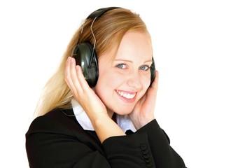 Blonde business woman wearing earmuffs