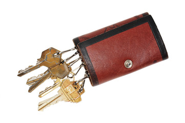 Leather Key Pouch With Keys On White background