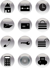 office metal shiny icon buttons