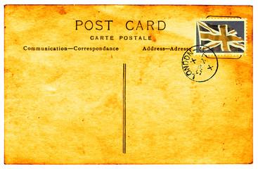 Genuine vintage postcard with postmark and faux GB stamp