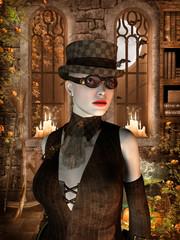 Frau mit Hut und Brille