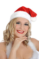 Beautiful sexy santa clause woman in party red clothes . isolate