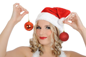 Beautiful sexy santa clause woman in party red clothes, hat and