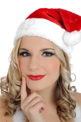 Beautiful sexy santa clause woman in party red clothes, hat . is