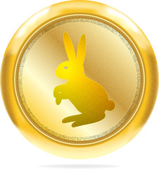 Golden icon with the rabbit symbol of 2011 | Isolated
