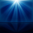 background of blue luminous rays with reflection
