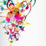 Fototapety Abstract musical background with bright flying up notes and othe