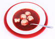 Polish Christmas Eve dish:clear borscht with dumplings (uszka)