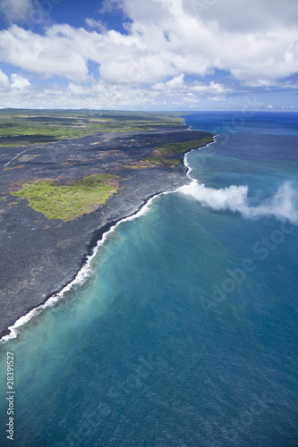 Kalapana's lava flow and oceanentry at Big Island