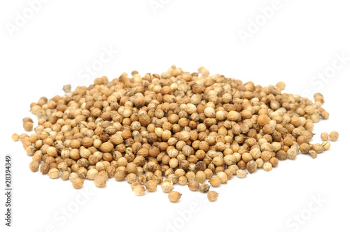 Pile of Coriander Seeds Isolated on White Background