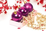 three chrispmas purple balls and chaplet