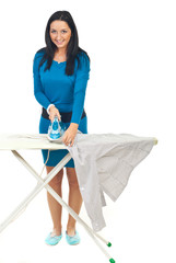Happy woman ironing