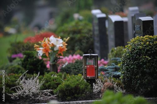 In de dag Begraafplaats Gräber auf dem Friedhof