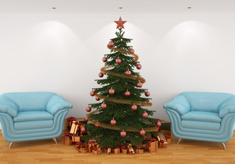 Christmas tree in the interior with blue leathern chairs
