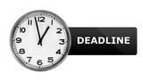 A clock with the Deadline label isolated in white background poster