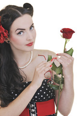 young woman with rose flower isolated on white