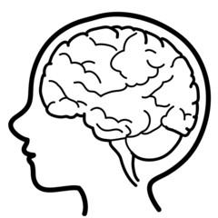 Icona di testa di bambino con emisfero cerebrale visibile