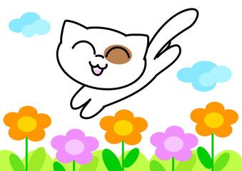 Tenero gatto bianco salta nei fiori