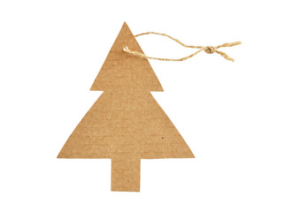 christmas cardboard tag isolated on white background
